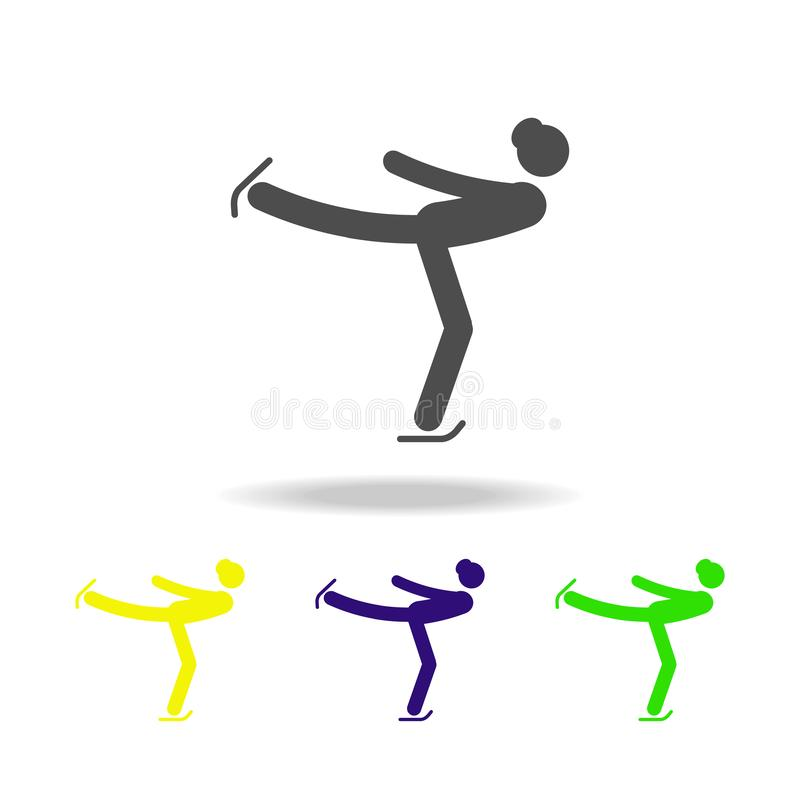 Silhouette woman figure skater athlete isolated multicolored icon. Winter sport games discipline. Symbol, signs can be used for we vector illustration