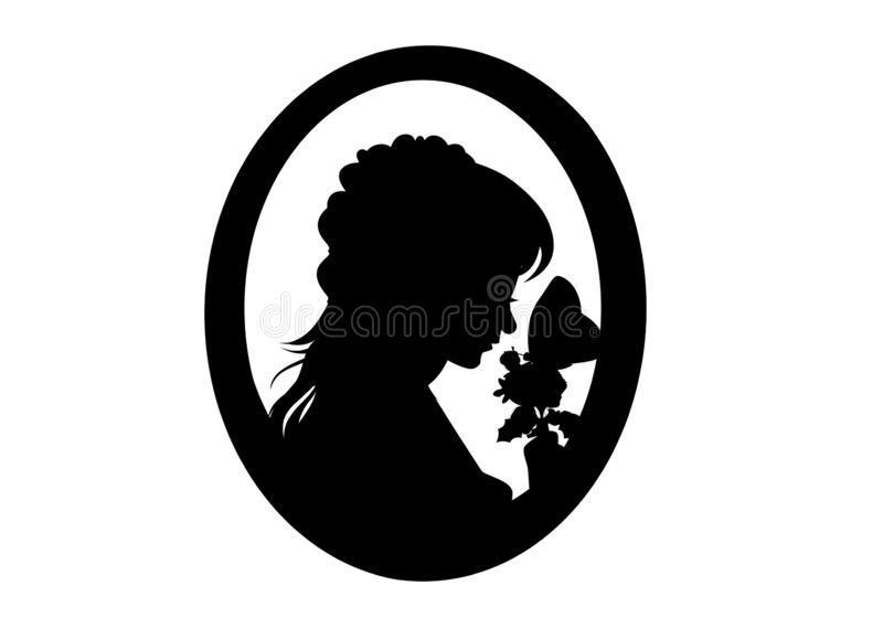 Silhouette woman with flower and butterfly on white background. stock images