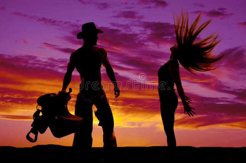 Silhouette of woman hair flying arms back royalty free stock images