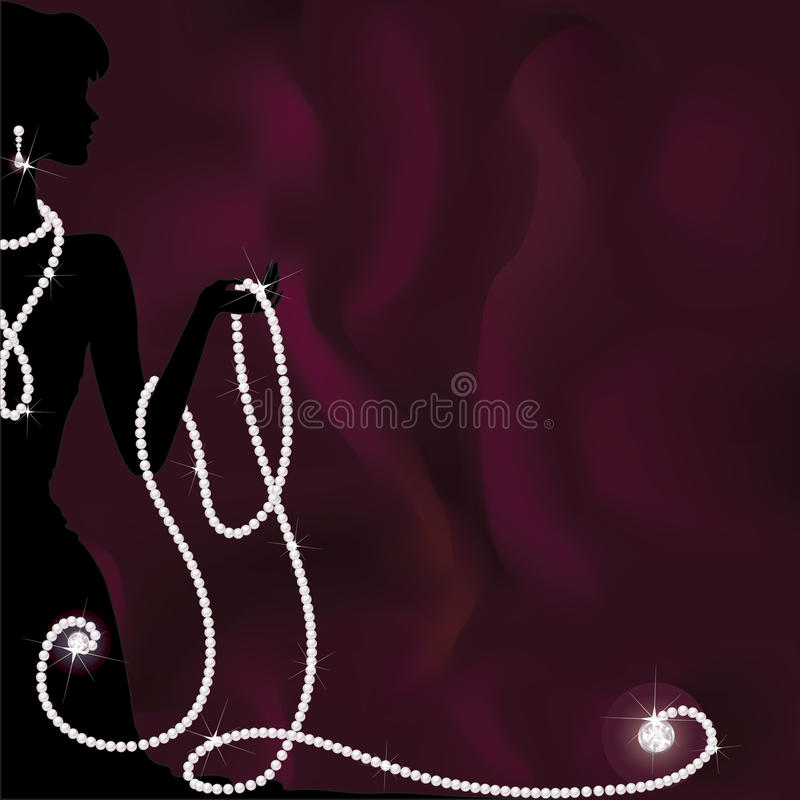 A silhouette of woman holding pearl beads stock images