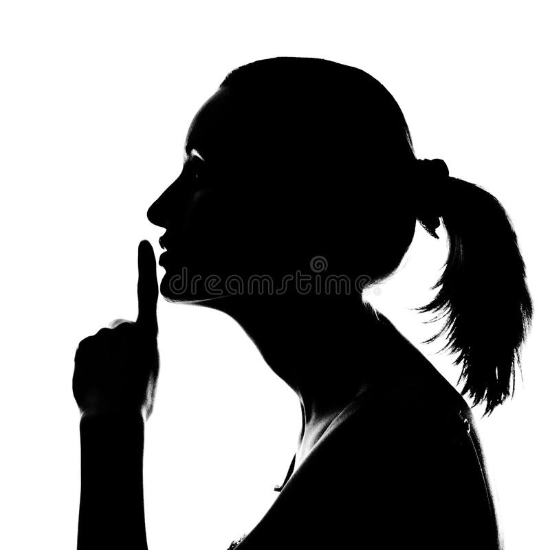 Download Silhouette Of Woman With Hush Sign Stock Image - Image: 18786393