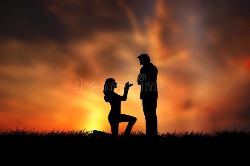 Silhouette of woman kneeling on grassy hill and propose a man at sunset royalty free stock photos