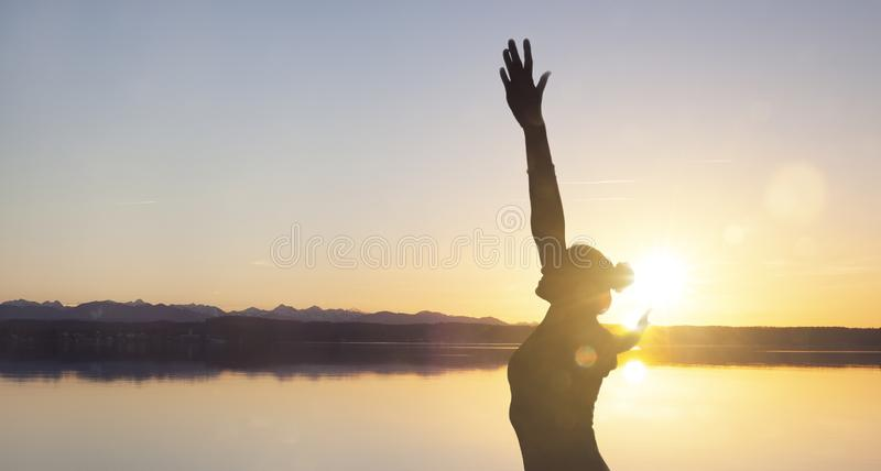 Happy Woman at a lake stock photos
