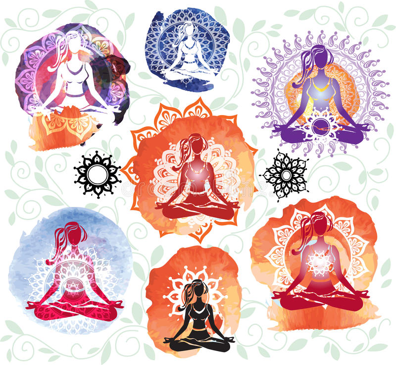Silhouette of woman meditating in lotus position. On round pattern vector illustration