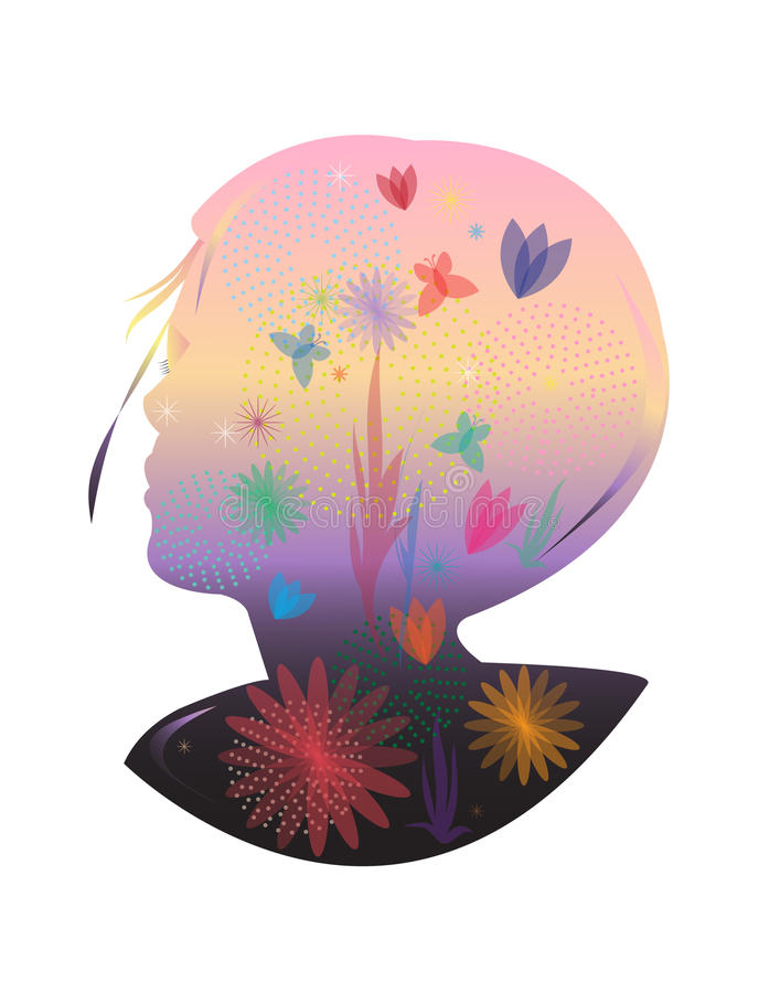 Silhouette woman pink head flowers butterflies stock illustration