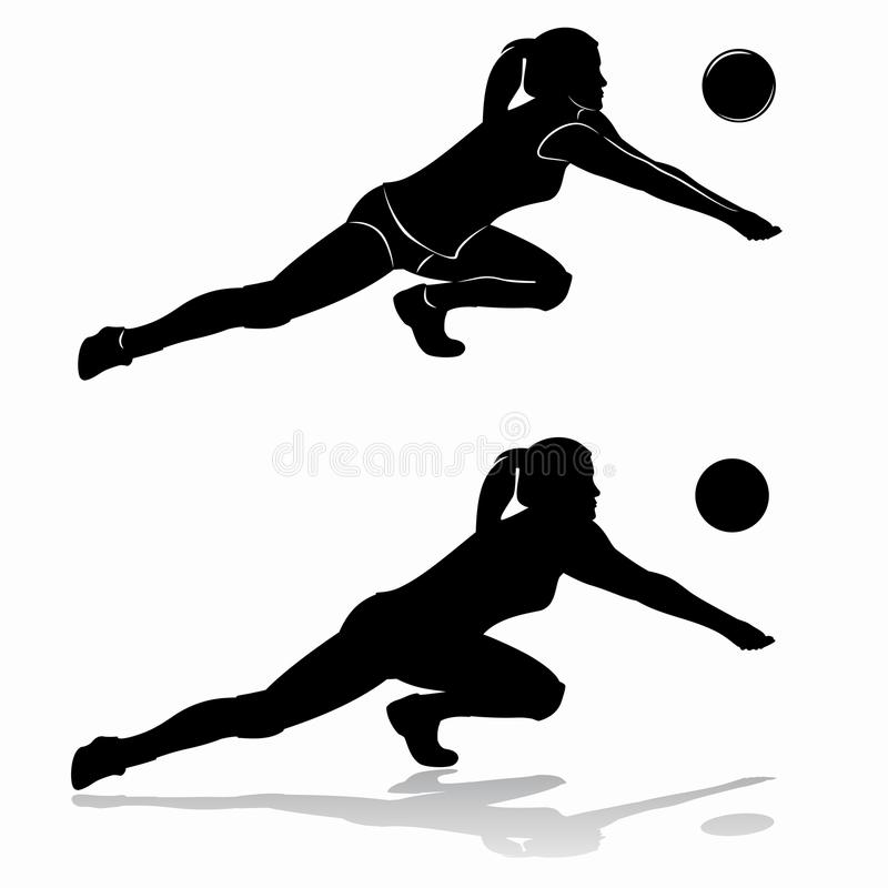 Silhouette of woman playing volleyball. Illustration of woman playing volleyball . black and white drawing.white background vector illustration