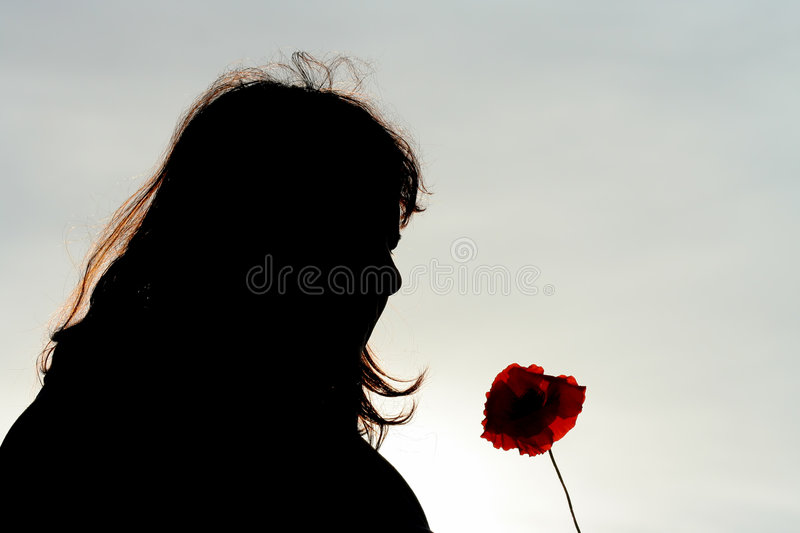 Silhouette of woman with poppy royalty free stock images