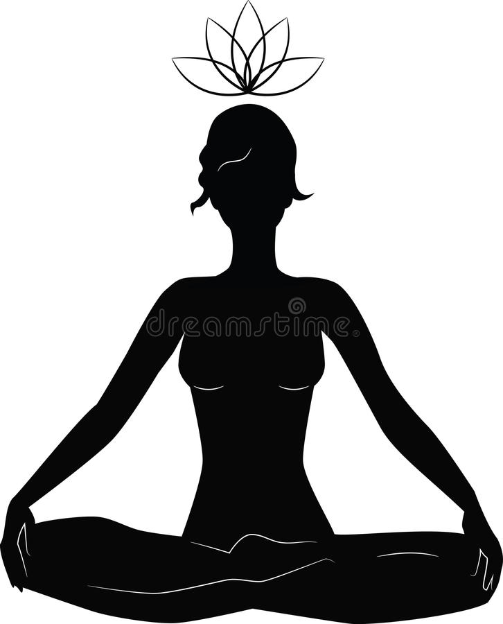 Silhouette of woman practicing yoga in lotus position royalty free stock photography