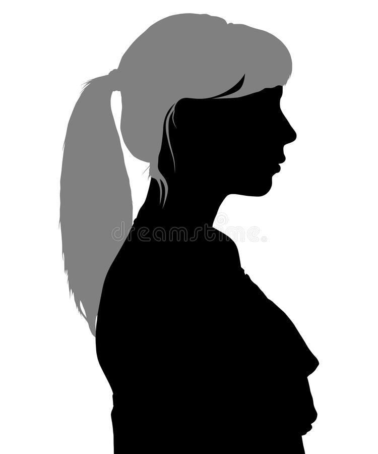 Silhouette of a woman in profile vector illustration
