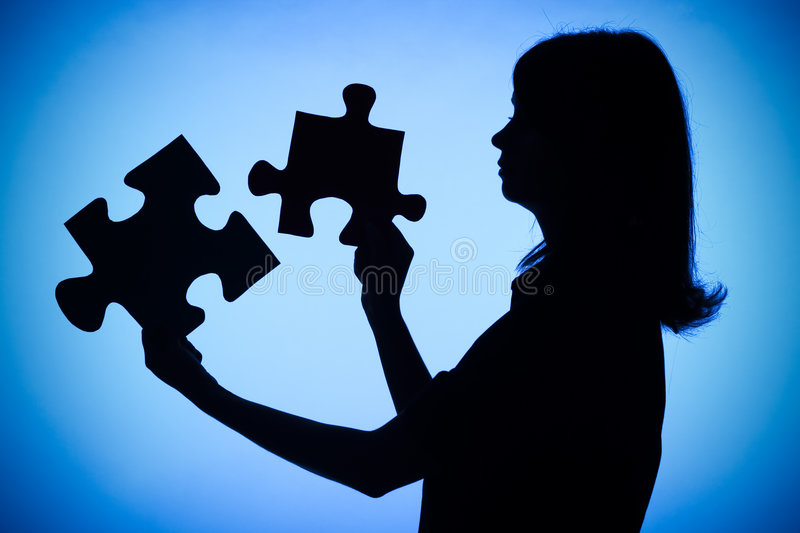 Silhouette of woman with puzzle royalty free stock photos