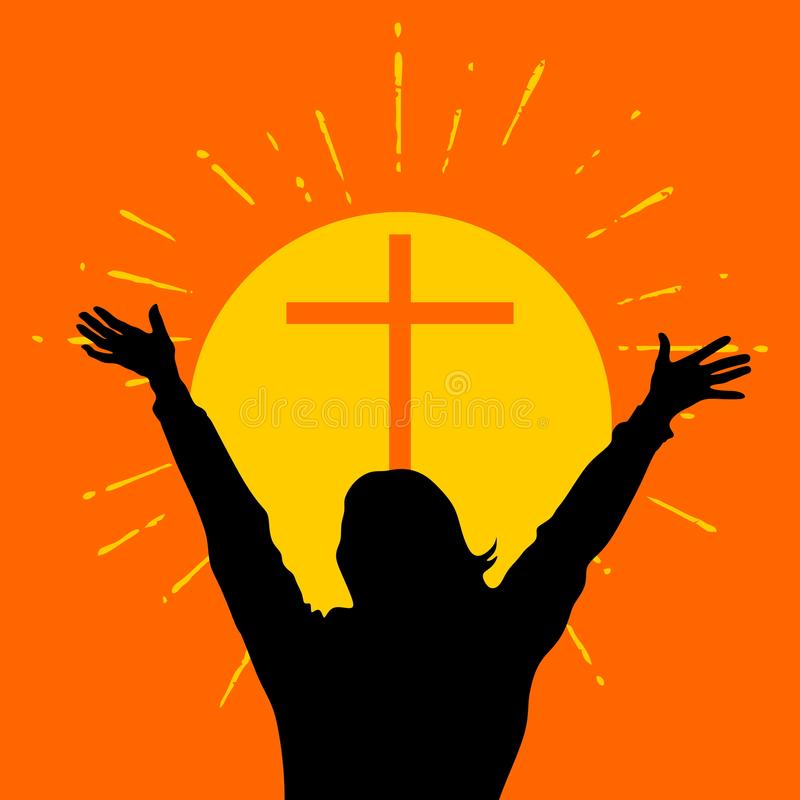 Silhouette of a woman with raised hands in front of a cross. stock illustration
