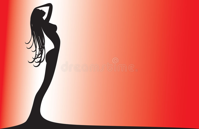 Silhouette of a woman on red royalty free stock photos