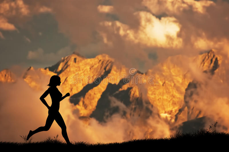 Silhouette of a woman running, jogging royalty free stock images
