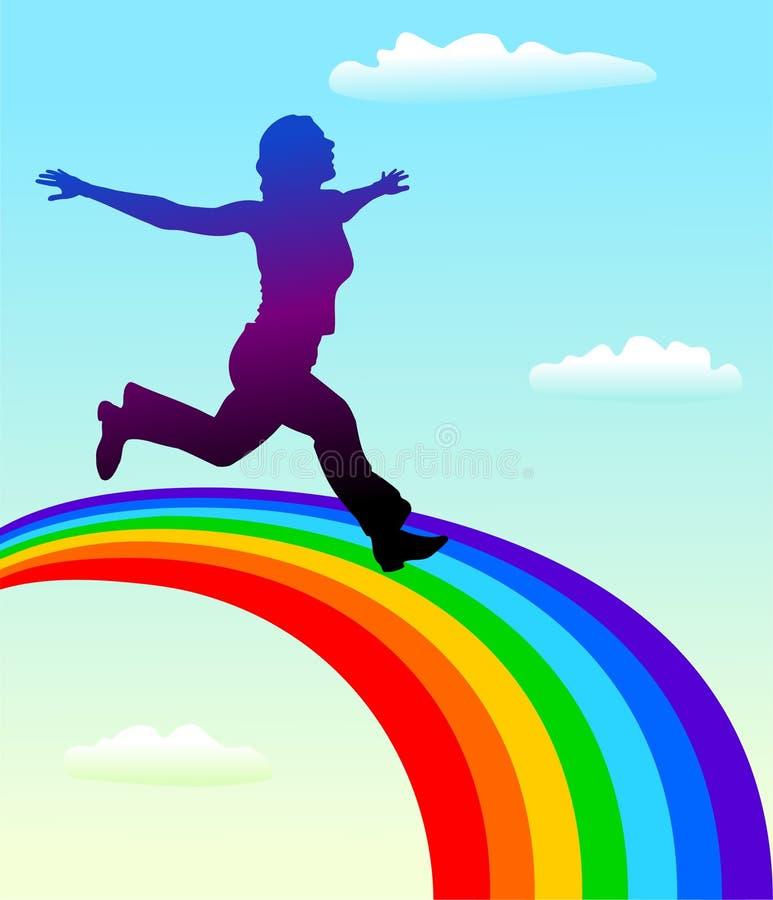 Silhouette of woman running on rainbow vector illustration