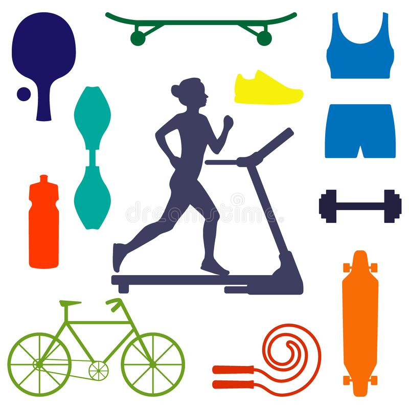 Silhouette of a woman running on treadmill, surrounded by icons of sports equipment for different sports. Healthy lifestyle illust royalty free illustration
