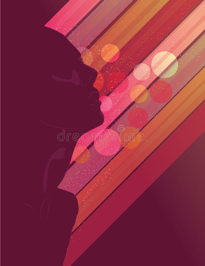 Silhouette woman's face looking up vector illustration