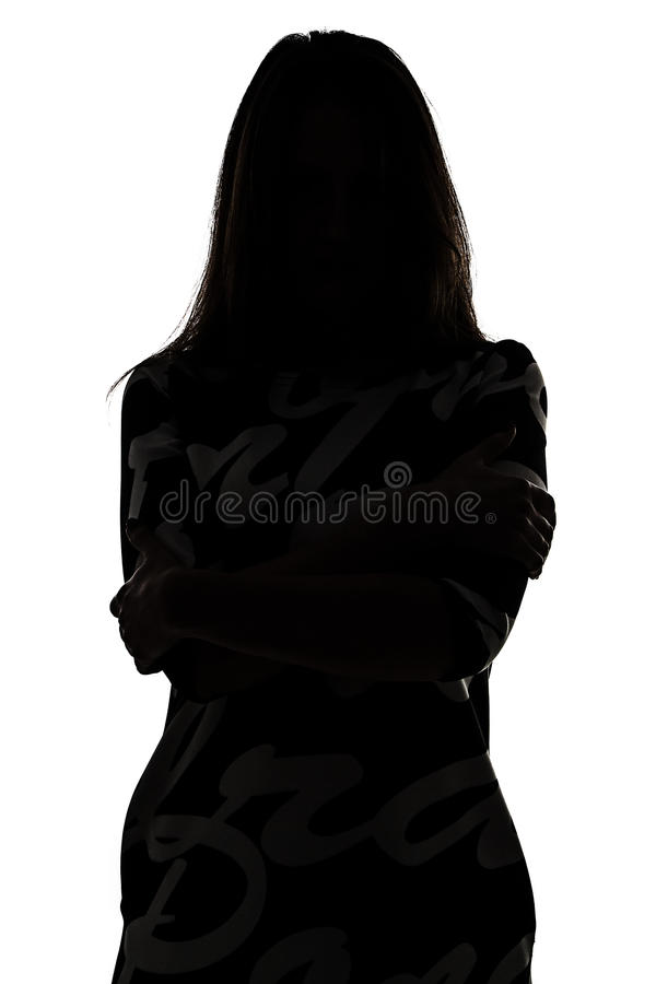 Silhouette of a woman in shadow royalty free stock photo