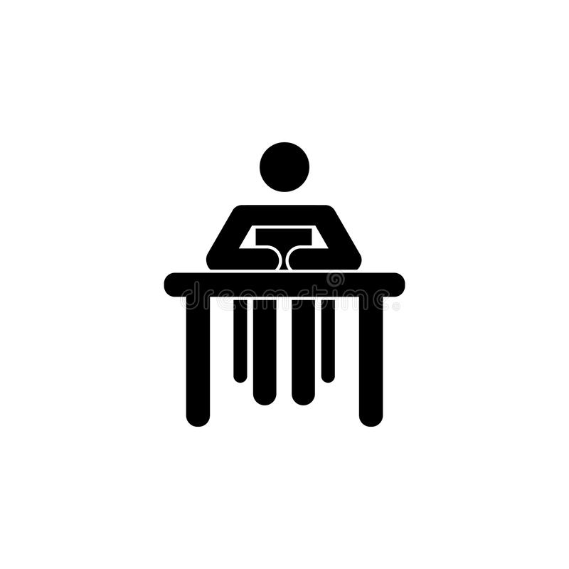 Silhouette of a woman sitting behind a book icon royalty free illustration