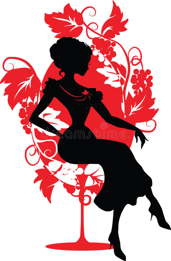 Silhouette of woman sitting on a chair royalty free illustration