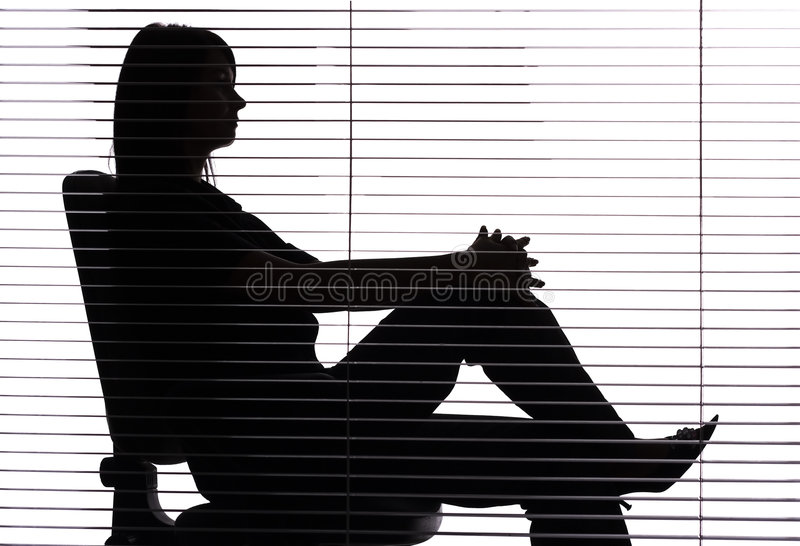 Download Silhouette Of Woman Sitting In The Office (blind) Stock Image - Image: 1282657