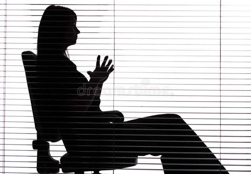 Download Silhouette Of Woman Sitting In The Office (blind) Stock Image - Image: 1282659
