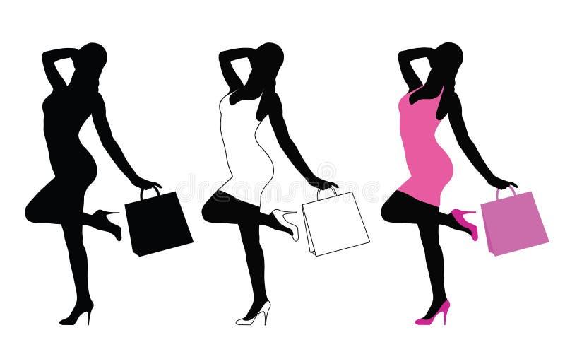 Beautiful Elegant Woman Silhouette Holding A Shoe Stock