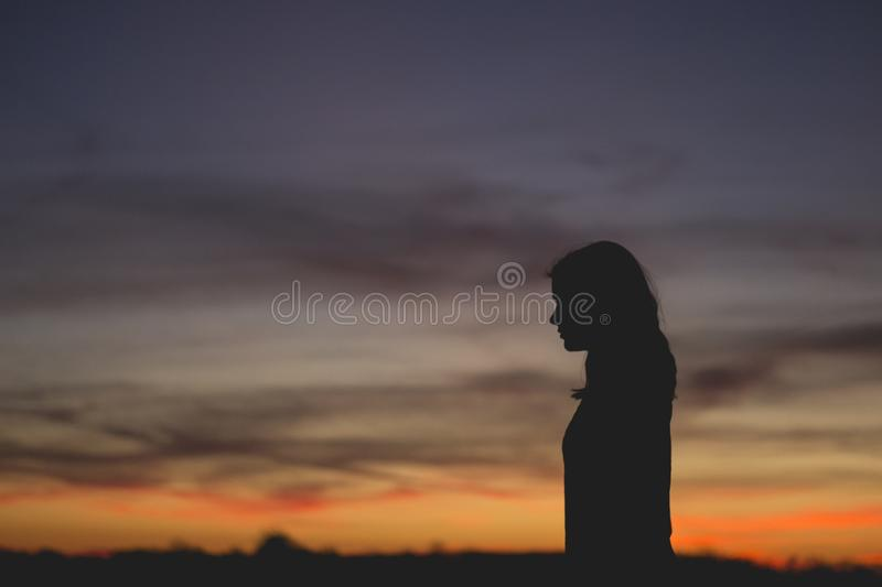 Silhouette Of Woman At Sunset Free Public Domain Cc0 Image