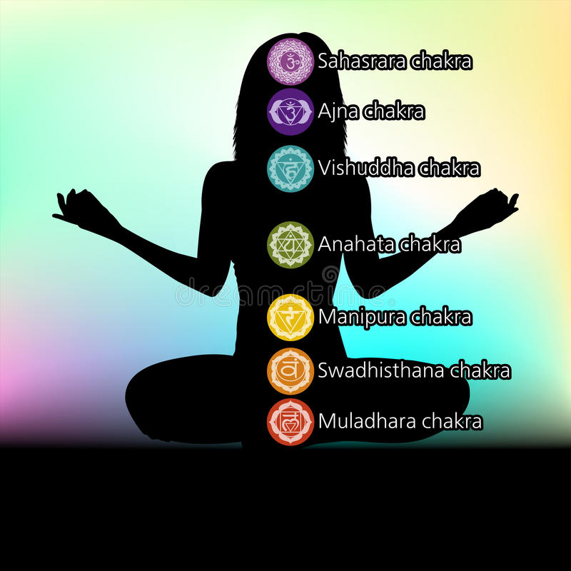 Silhouette of woman with symbols of chakra. EPS 8 stock illustration