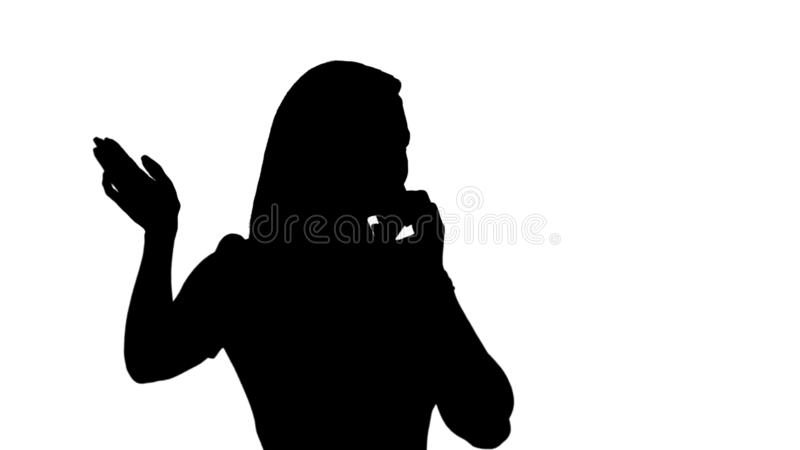 Silhouette Woman Talking On The Phone. Stock Illustration - Illustration of glasses, drives: 137755295