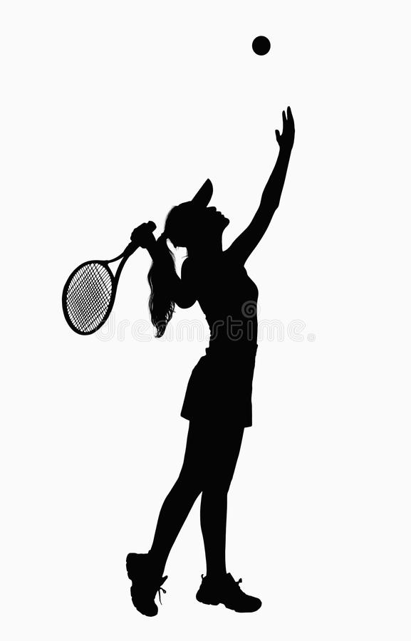Download Silhouette Of Woman With Tennis Racket, Serving. Stock Image - Image: 33402729