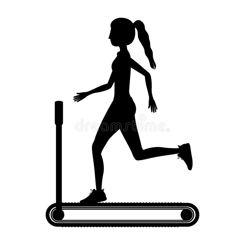 Silhouette with woman in treadmill vector illustration