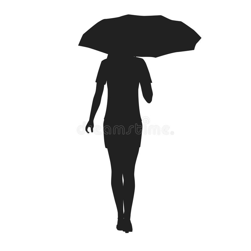 Silhouette of a woman with umbrella royalty free illustration