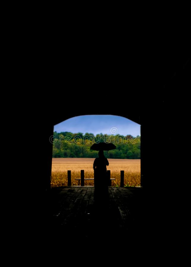 The silhouette of a woman with an umbrella over her head looking out over her farm. stock photography