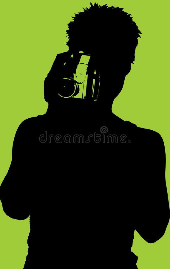 Silhouette of Woman with Video Camera stock photos