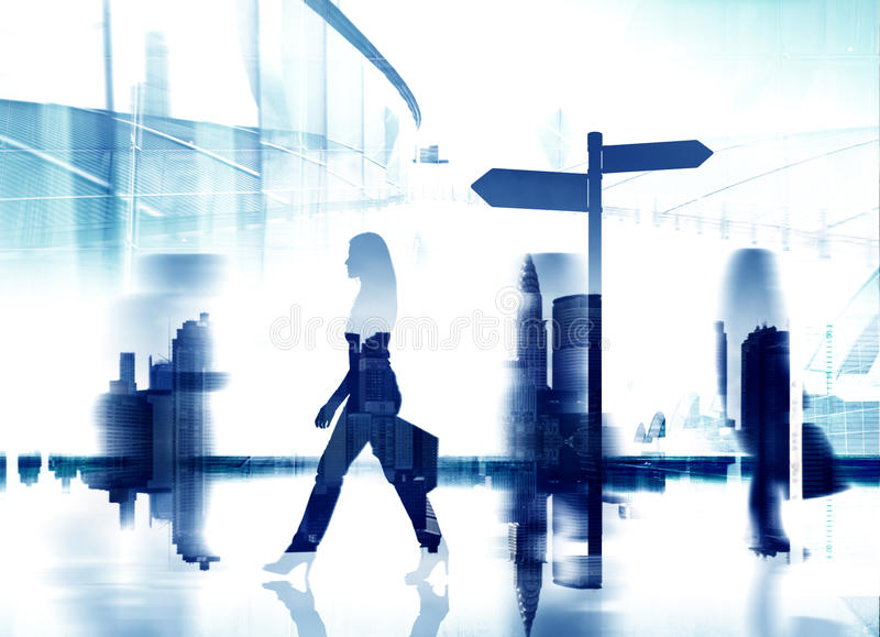 Silhouette Woman The Way Forward Directional Sign Concept royalty free stock image