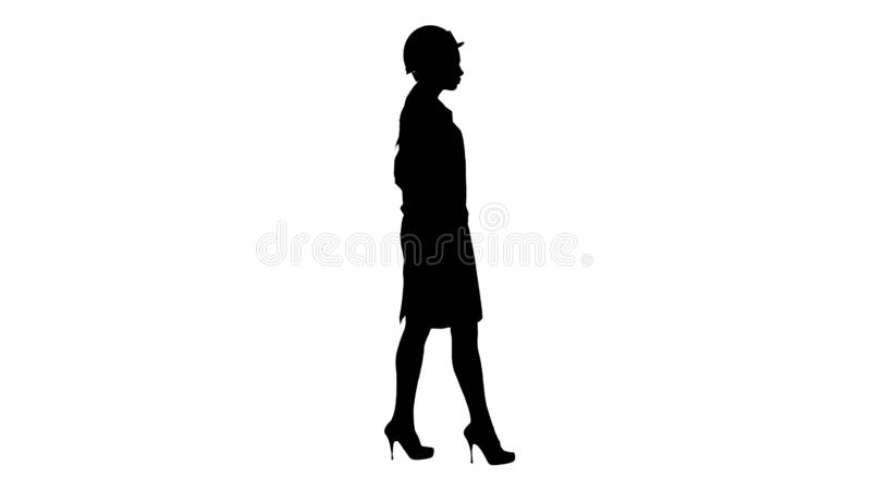 Silhouette Woman in white robe putting hard hat on while walking. Full length side view. Silhouette Woman in white robe putting hard hat on while walking royalty free illustration