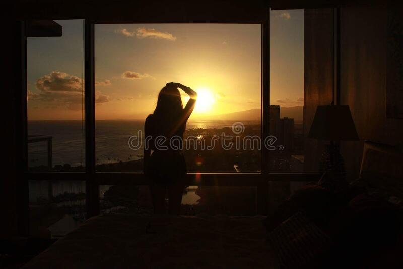 Silhouette Of Woman At Window At Sunset Free Public Domain Cc0 Image