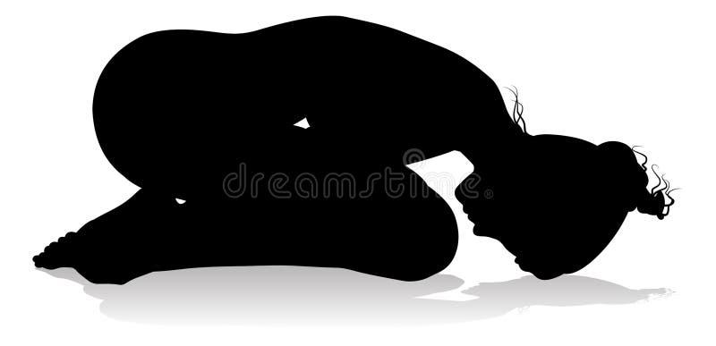 Yoga Pilates Pose Woman Silhouette stock illustration