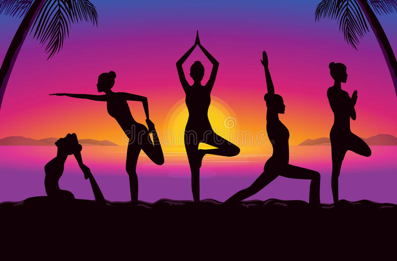 Silhouette of women group posing different yoga posture. Silhouette of beauty women group in sportswear posing different yoga posture vector illustration