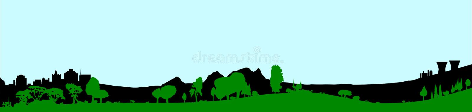 Green Wooded Foreground With A Blue Sky. Silhouette of a wooded foreground set on a hill background with buildings and a pale sky stock illustration