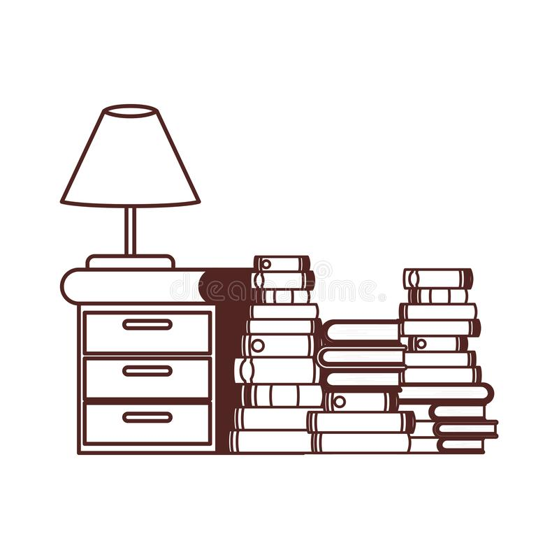 Silhouette of wooden drawer with stack of books. Vector illustration design vector illustration
