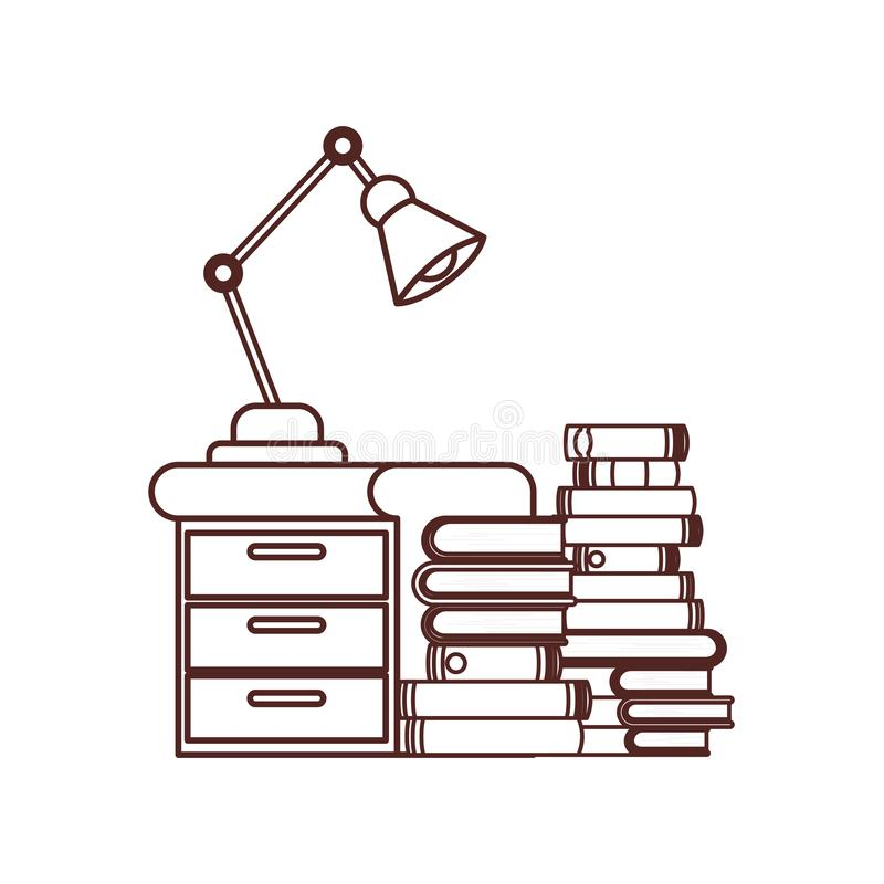 Silhouette of wooden drawer with stack of books. Vector illustration design stock illustration