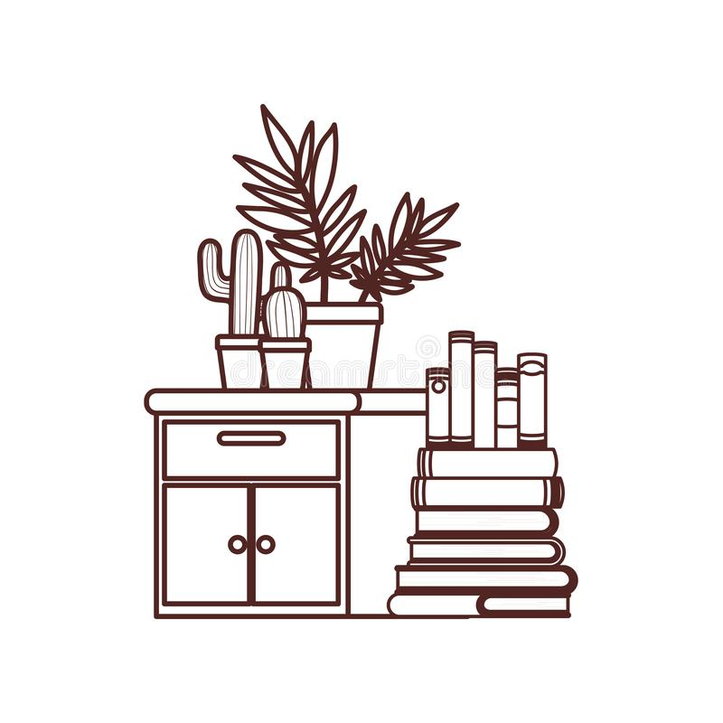 Silhouette of wooden drawer with stack of books. Vector illustration design royalty free illustration