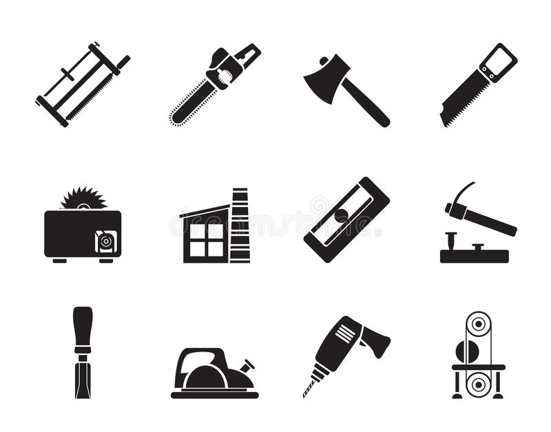 Silhouette Woodworking Industry And Woodworking Tools Icons Stock Vector Illustration Of Button Beam 58797705