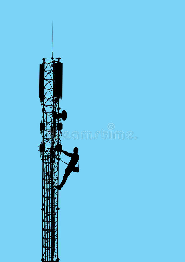 Silhouette of worker climbing on mobile telecommun. Ication tower against blue sky. Vector EPS10 royalty free illustration