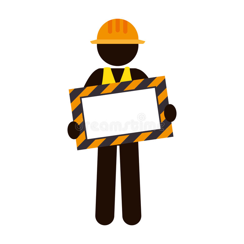 Silhouette worker holding site under construction banner stock illustration