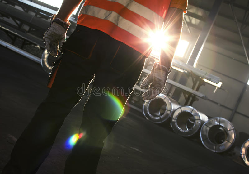 Silhouette of worker royalty free stock photography