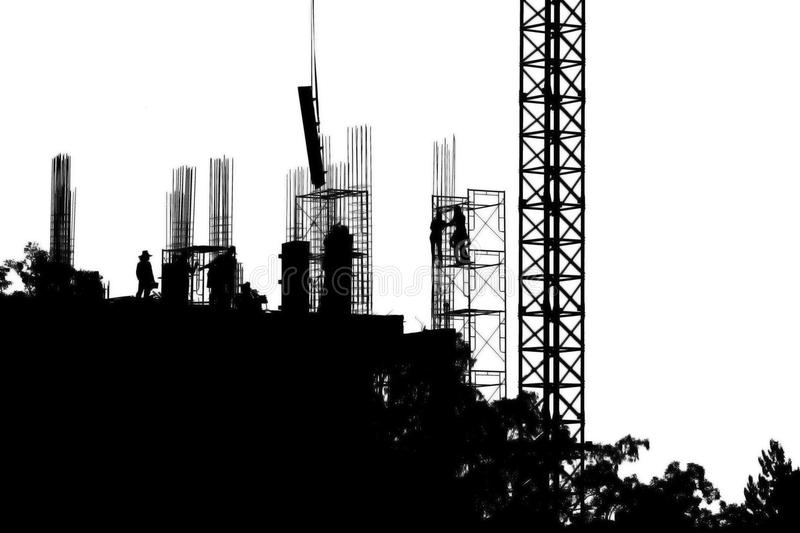 Silhouette worker team black and white working construction site with copy space add text stock images