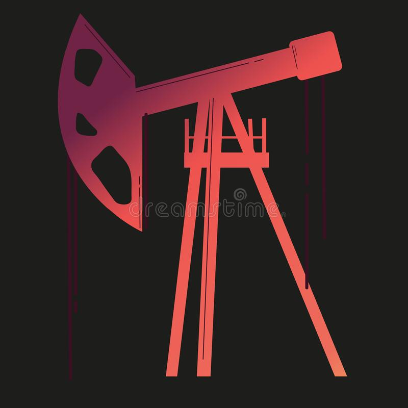 Silhouette of working oil pumps. Oil industry equipment. Business is a big profit. Money, future vector illustration