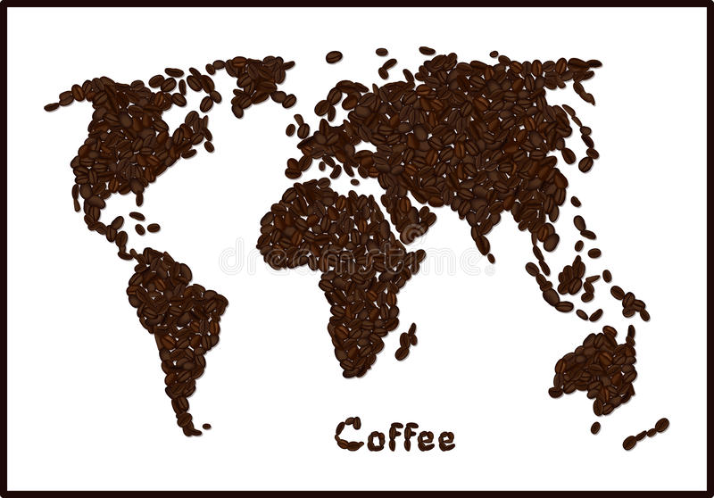 download silhouette of world map made from coffee beans with highlighted brazil coffee lettering